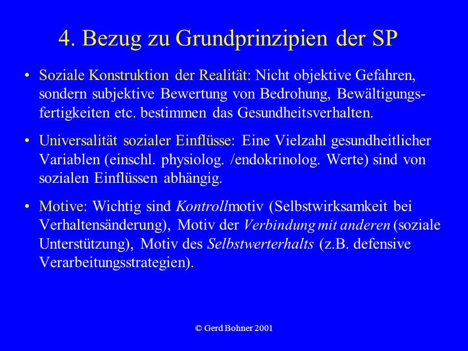 © Gerd Bohner 2001 4. Bezug zu Grundprinzipien der SP Soziale Konstruktion der Realität: Nicht objektive Gefahren, sondern subjektive Bewertung von Be