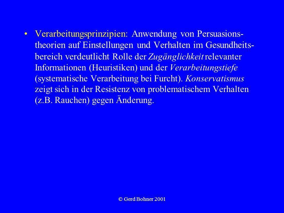 © Gerd Bohner 2001 Verarbeitungsprinzipien: Anwendung von Persuasions- theorien auf Einstellungen und Verhalten im Gesundheits- bereich verdeutlicht R