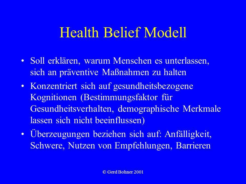 © Gerd Bohner 2001 Health Belief Modell Soll erklären, warum Menschen es unterlassen, sich an präventive Maßnahmen zu halten Konzentriert sich auf ges