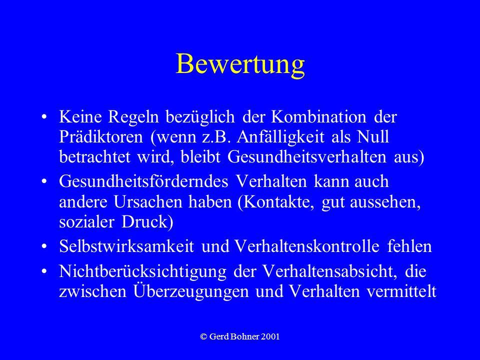 © Gerd Bohner 2001 Bewertung Keine Regeln bezüglich der Kombination der Prädiktoren (wenn z.B. Anfälligkeit als Null betrachtet wird, bleibt Gesundhei