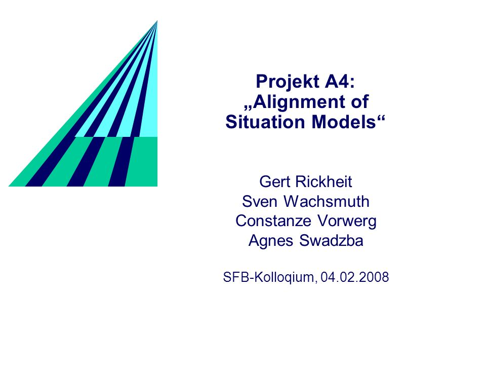 Projekt A4: Alignment of Situation Models Gert Rickheit Sven Wachsmuth Constanze Vorwerg Agnes Swadzba SFB-Kolloqium, 04.02.2008