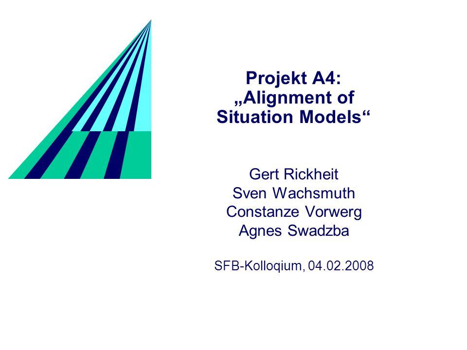 Alignment of Situation Models Projekt A4 2 Aus der Sicht eines Roboters Wahrnehmung komplexer Räume Mit Menschen über Räume sprechen Vereinfachung der Komplexität durch: Erzeugen von Situationsmodelle Alignment der Modelle Nutzen der Modelle zur Reduktion des visuellen Verarbeitungsaufwands Welche Schritte sind notwendig.