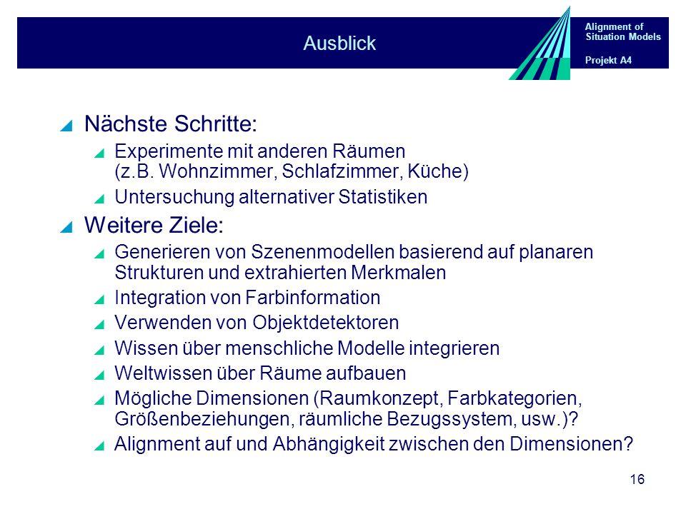 Alignment of Situation Models Projekt A4 16 Ausblick Nächste Schritte: Experimente mit anderen Räumen (z.B. Wohnzimmer, Schlafzimmer, Küche) Untersuch