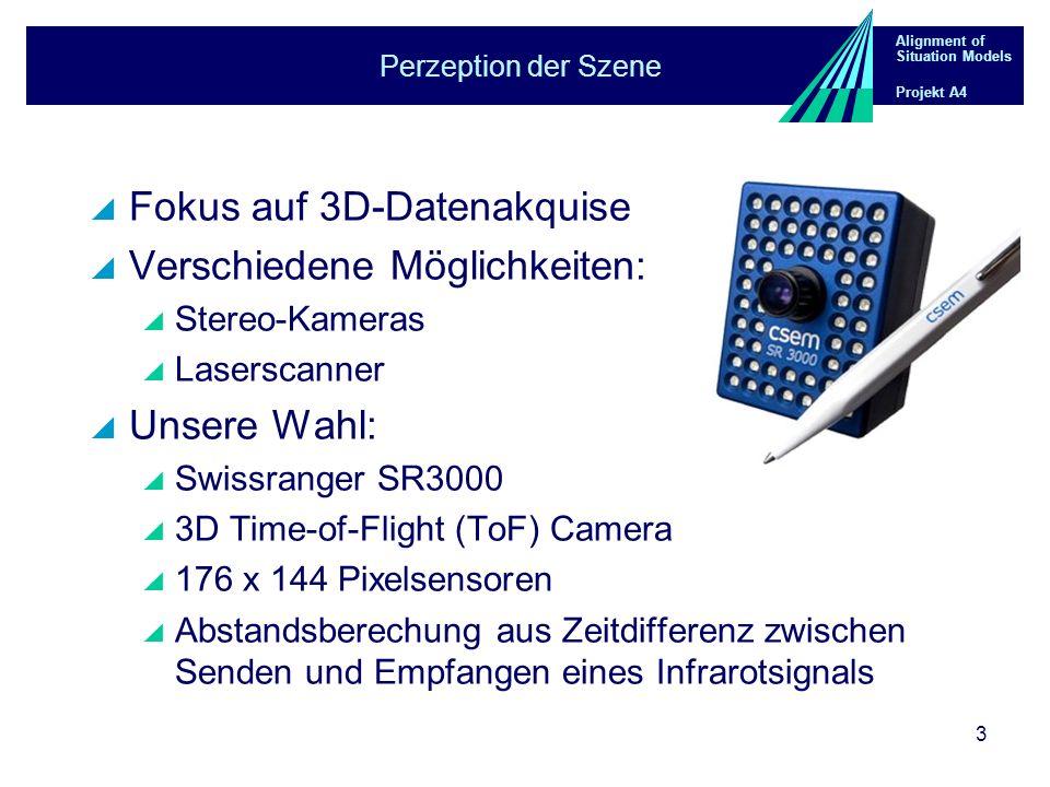 Alignment of Situation Models Projekt A4 3 Perzeption der Szene Fokus auf 3D-Datenakquise Verschiedene Möglichkeiten: Stereo-Kameras Laserscanner Unsere Wahl: Swissranger SR3000 3D Time-of-Flight (ToF) Camera 176 x 144 Pixelsensoren Abstandsberechung aus Zeitdifferenz zwischen Senden und Empfangen eines Infrarotsignals