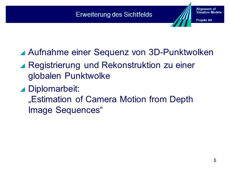 Alignment of Situation Models Projekt A4 5 Erweiterung des Sichtfelds Aufnahme einer Sequenz von 3D-Punktwolken Registrierung und Rekonstruktion zu einer globalen Punktwolke Diplomarbeit: Estimation of Camera Motion from Depth Image Sequences