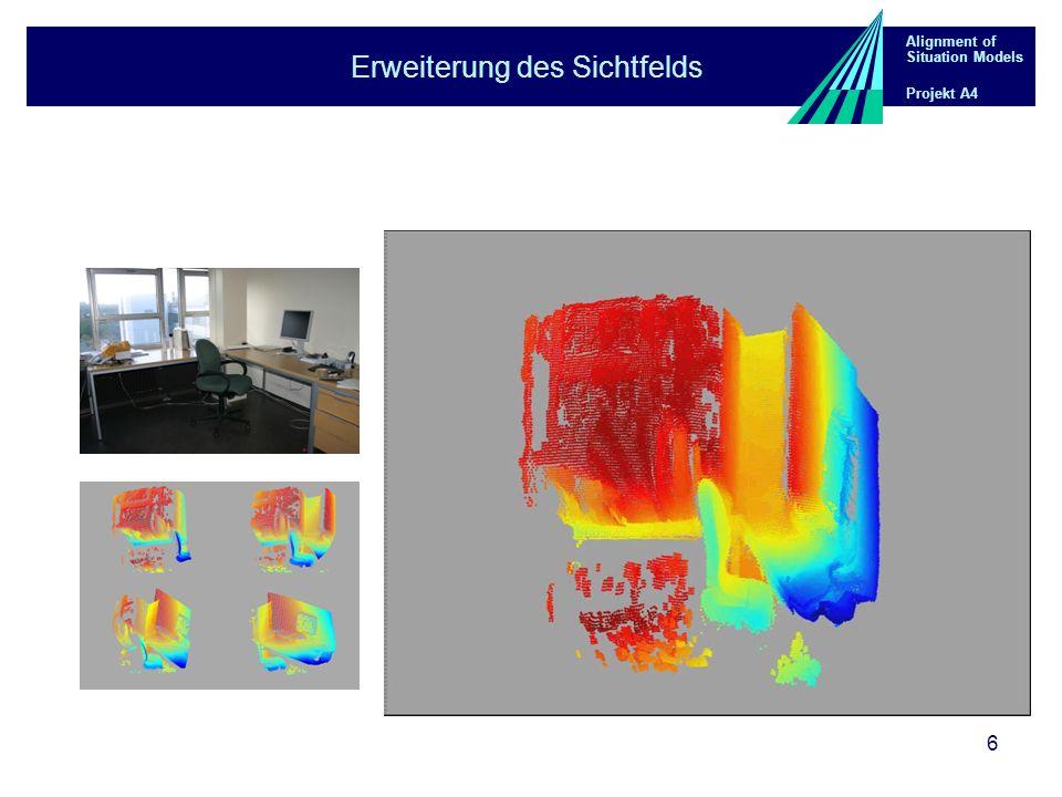 Alignment of Situation Models Projekt A4 7 Analyse der Szenen Datengetriebene Analyse der 3D-Punktwolken Extraktion von geometrischen Raumprimitiven: Beschränkung auf von Menschen gestaltete Innenräume Extraktion von planaren Flächen: Gegebene Anordnung der 3D-Punkte in eine 2D-Matrix Region Growing über die 8-er Nachbarschaft durch Punkte die 4 Kriterien erfüllen Kriterien: planar, valid, conormal, coplanar