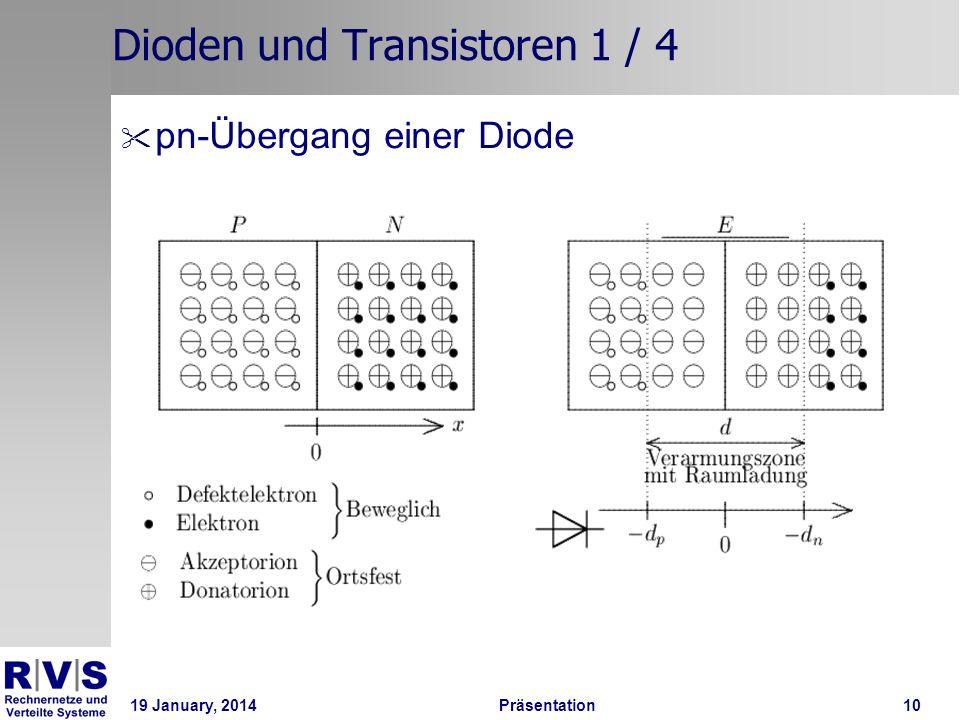 19 January, 2014 Präsentation 10 Dioden und Transistoren 1 / 4