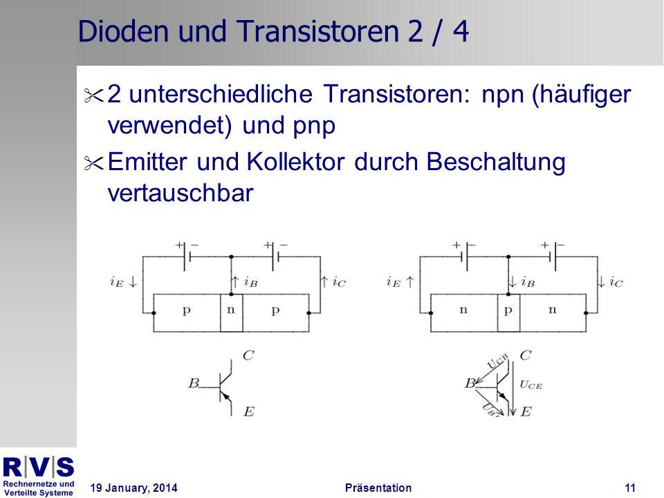 19 January, 2014 Präsentation 11 Dioden und Transistoren 2 / 4