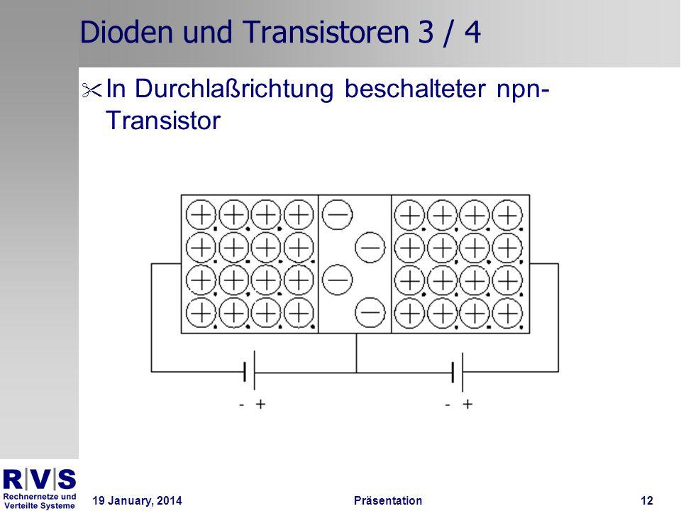 19 January, 2014 Präsentation 12 Dioden und Transistoren 3 / 4