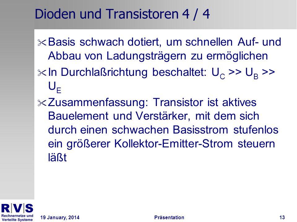 19 January, 2014 Präsentation 13 Dioden und Transistoren 4 / 4