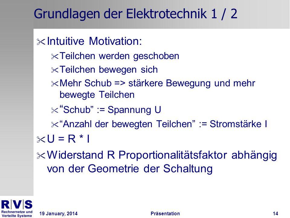 19 January, 2014 Präsentation 14 Grundlagen der Elektrotechnik 1 / 2