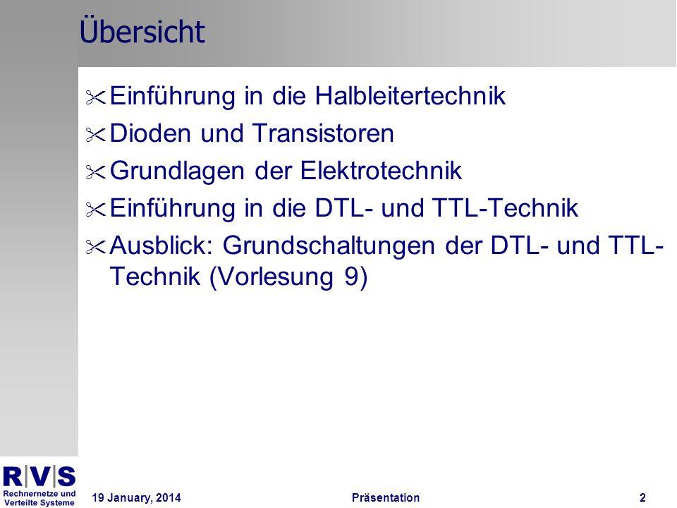 19 January, 2014 Präsentation 3 Einführung in die Halbleitertechnik 1 / 6 Unterschied Leiter Halbleiter: Halbleiter können auch Isolatoren sein.