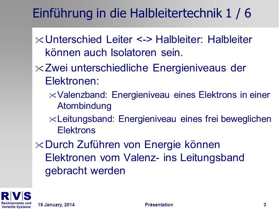 19 January, 2014 Präsentation 4 Einführung in die Halbleitertechnik 2 / 6 Bei Halbleitern sind diese Bänder weiter voneinander getrennt als bei Leitern d.h.