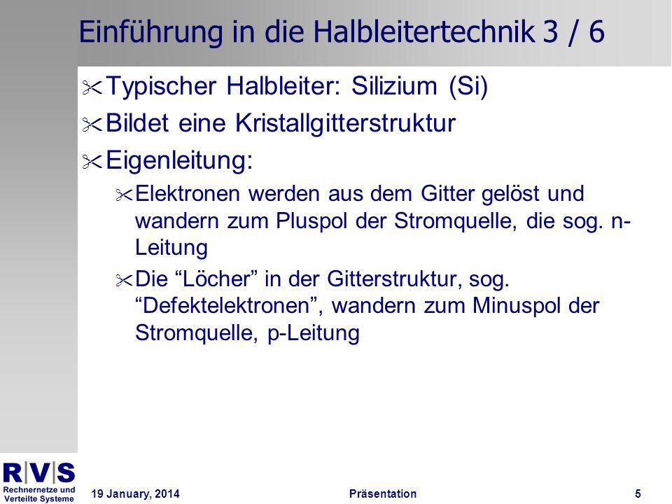 19 January, 2014 Präsentation 6 Einführung in die Halbleitertechnik 4 / 6 Siliziumkristall und Kristall mit Defektelektron