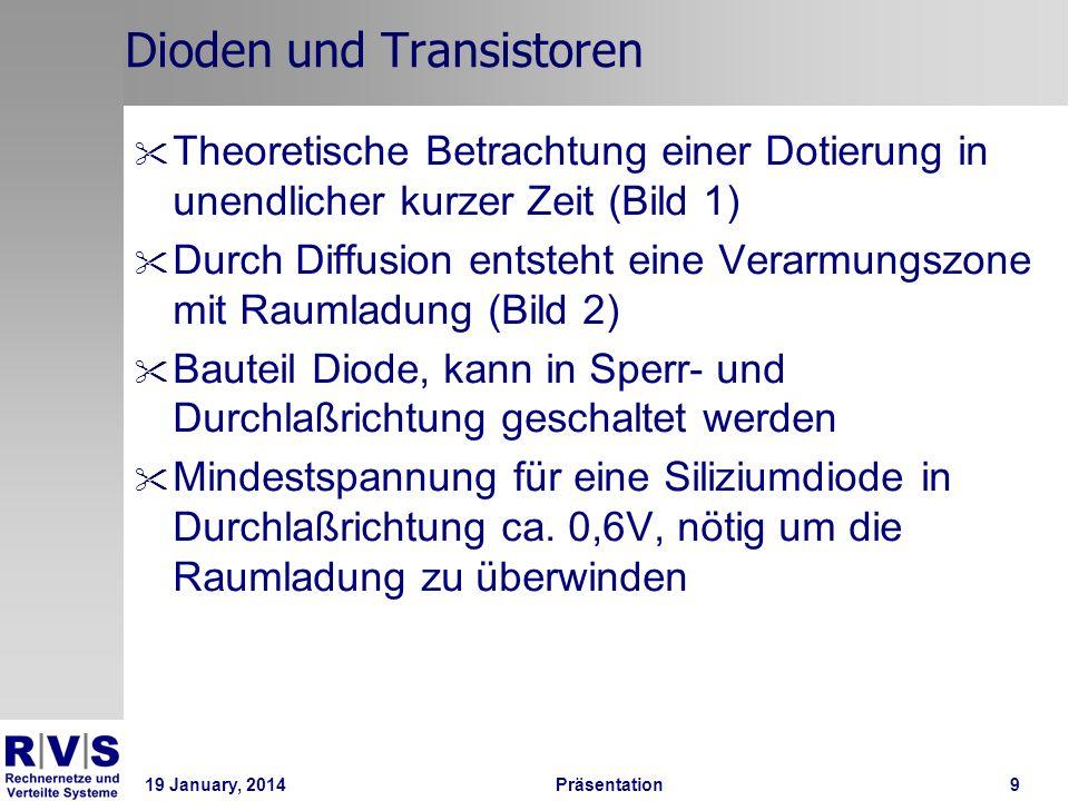 19 January, 2014 Präsentation 20 Einführung in die DTL- und TTL-Technik 5 / 6 AP0: I B = 0, Transistor sperrt AP1: I B > 0, U CE > U CEsat, Transistor leitet AP2: I B > 0, U CE = U CEsat, Transistor ist gesättigt AP4: I B > 0, U CE < U CEsat, Transistor ist übersteuert