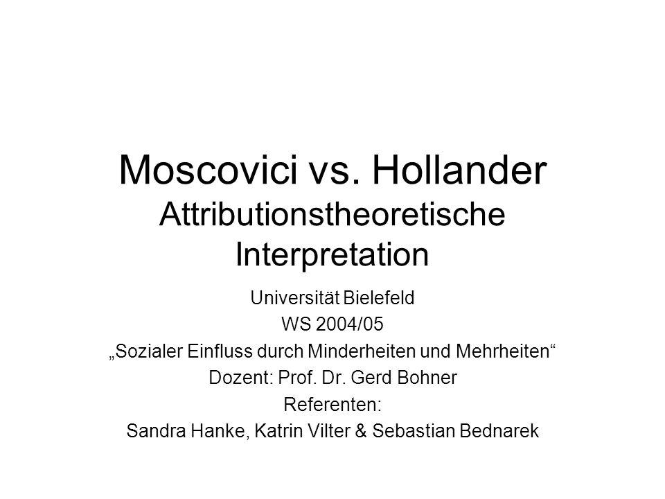 Moscovici vs. Hollander Attributionstheoretische Interpretation Universität Bielefeld WS 2004/05 Sozialer Einfluss durch Minderheiten und Mehrheiten D