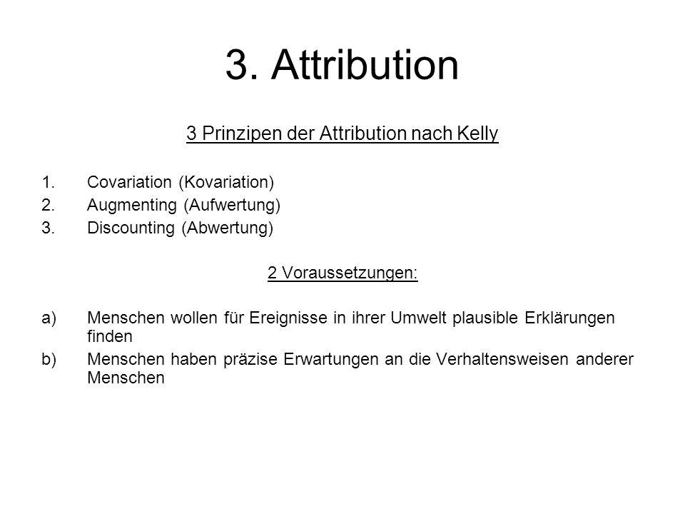 3. Attribution 3 Prinzipen der Attribution nach Kelly 1.Covariation (Kovariation) 2.Augmenting (Aufwertung) 3.Discounting (Abwertung) 2 Voraussetzunge