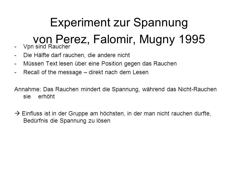 Experiment zur Spannung von Perez, Falomir, Mugny 1995 -Vpn sind Raucher -Die Hälfte darf rauchen, die andere nicht -Müssen Text lesen über eine Posit