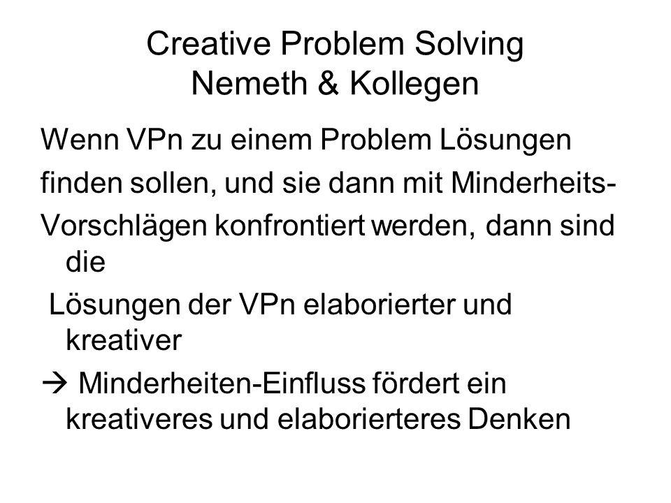 Creative Problem Solving Nemeth & Kollegen Wenn VPn zu einem Problem Lösungen finden sollen, und sie dann mit Minderheits- Vorschlägen konfrontiert we