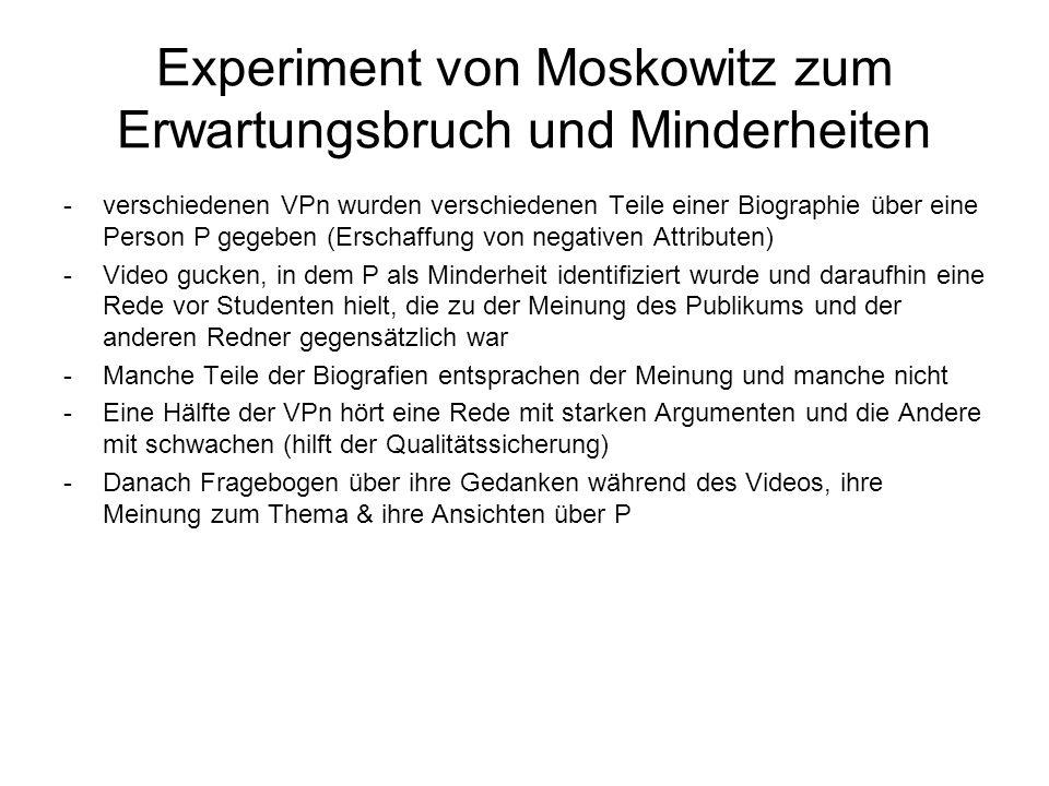 Experiment von Moskowitz zum Erwartungsbruch und Minderheiten -verschiedenen VPn wurden verschiedenen Teile einer Biographie über eine Person P gegebe