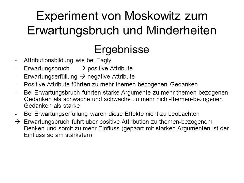 Experiment von Moskowitz zum Erwartungsbruch und Minderheiten Ergebnisse -Attributionsbildung wie bei Eagly -Erwartungsbruch positive Attribute -Erwar