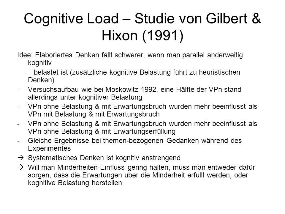Cognitive Load – Studie von Gilbert & Hixon (1991) Idee: Elaboriertes Denken fällt schwerer, wenn man parallel anderweitig kognitiv belastet ist (zusä
