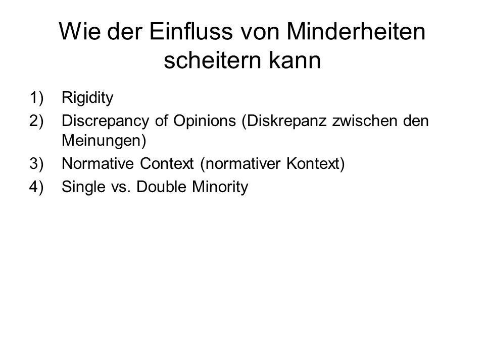 Wie der Einfluss von Minderheiten scheitern kann 1)Rigidity 2)Discrepancy of Opinions (Diskrepanz zwischen den Meinungen) 3)Normative Context (normati