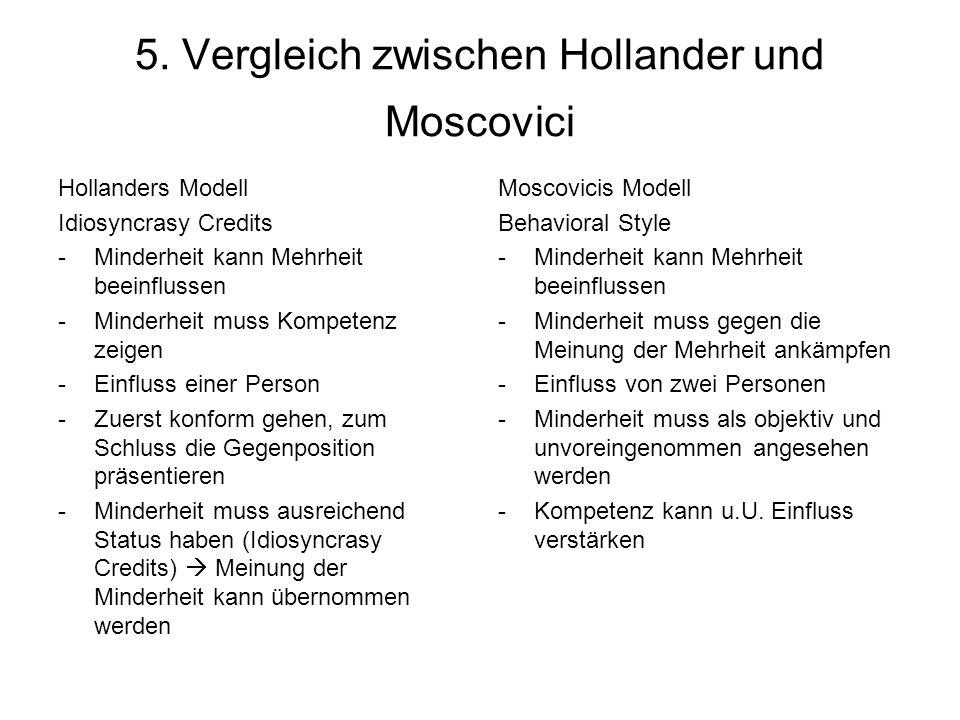 5. Vergleich zwischen Hollander und Moscovici Hollanders Modell Idiosyncrasy Credits -Minderheit kann Mehrheit beeinflussen -Minderheit muss Kompetenz