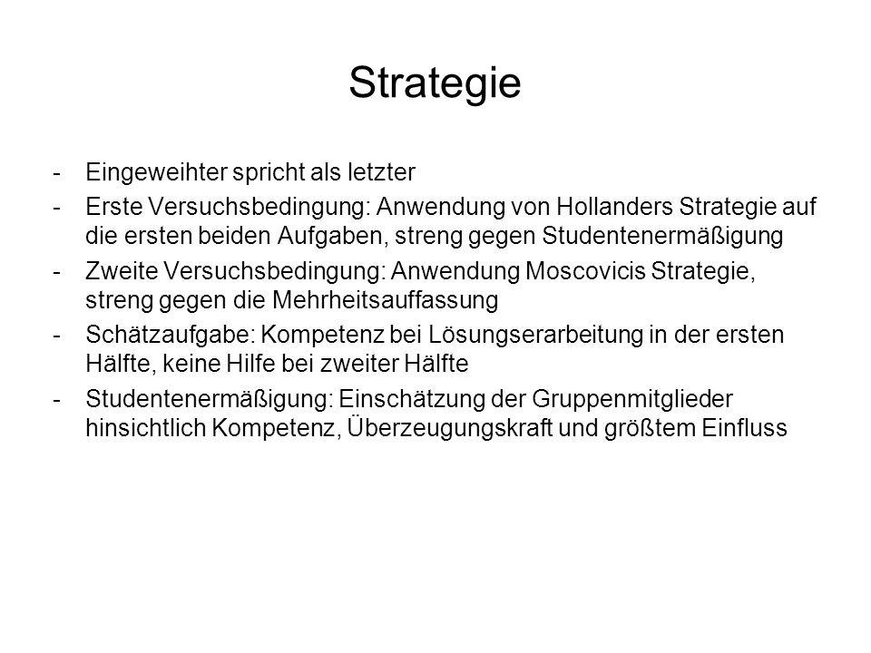 Strategie -Eingeweihter spricht als letzter -Erste Versuchsbedingung: Anwendung von Hollanders Strategie auf die ersten beiden Aufgaben, streng gegen
