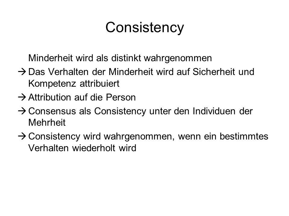 Consistency Minderheit wird als distinkt wahrgenommen Das Verhalten der Minderheit wird auf Sicherheit und Kompetenz attribuiert Attribution auf die P