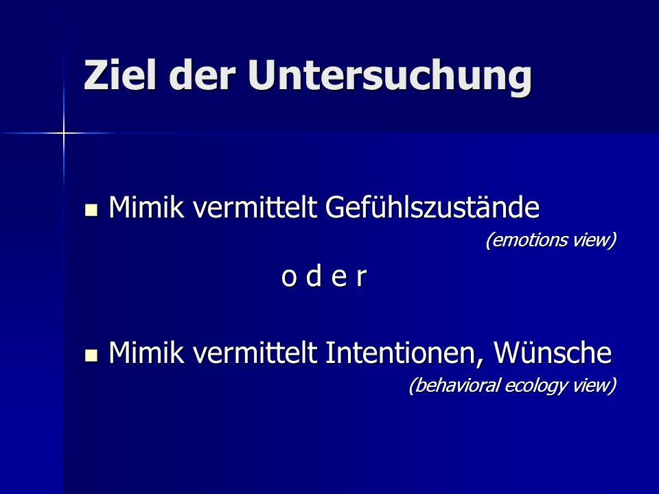 Ziel der Untersuchung Mimik vermittelt Gefühlszustände Mimik vermittelt Gefühlszustände (emotions view) o d e r o d e r Mimik vermittelt Intentionen,