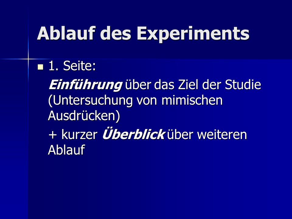 Ablauf des Experiments 1. Seite: 1. Seite: Einführung über das Ziel der Studie (Untersuchung von mimischen Ausdrücken) + kurzer Überblick über weitere