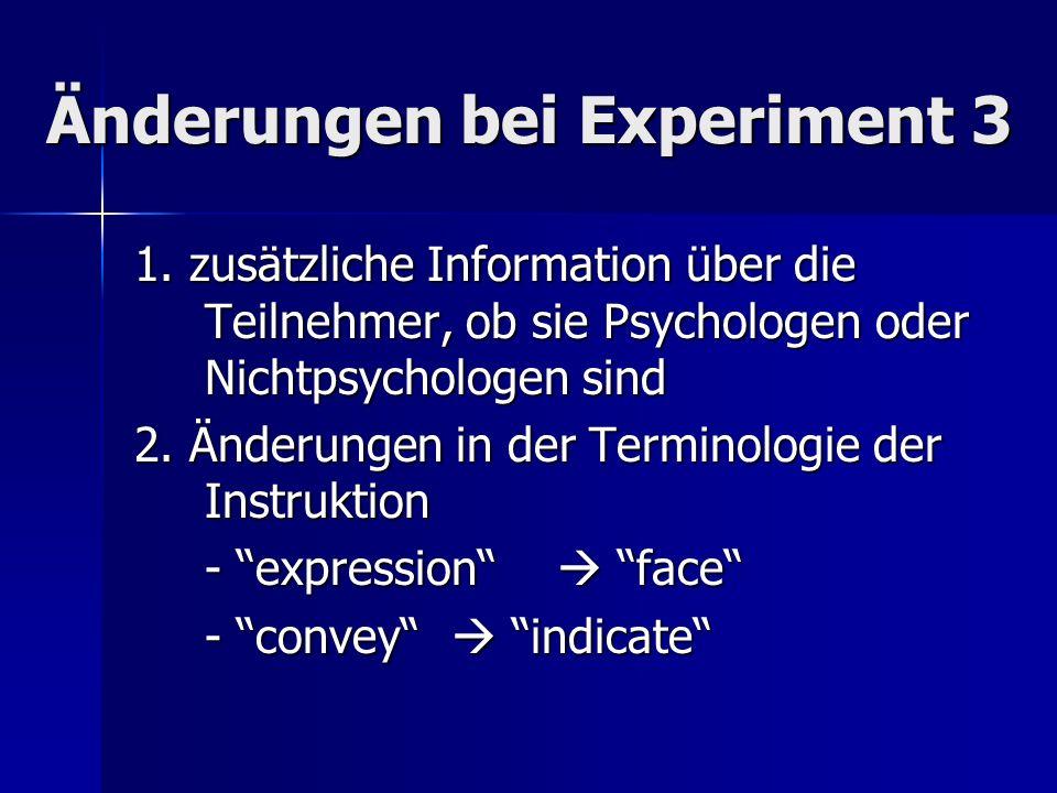Änderungen bei Experiment 3 1. zusätzliche Information über die Teilnehmer, ob sie Psychologen oder Nichtpsychologen sind 2. Änderungen in der Termino