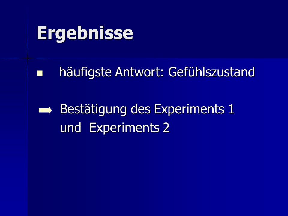 Ergebnisse häufigste Antwort: Gefühlszustand häufigste Antwort: Gefühlszustand Bestätigung des Experiments 1 und Experiments 2