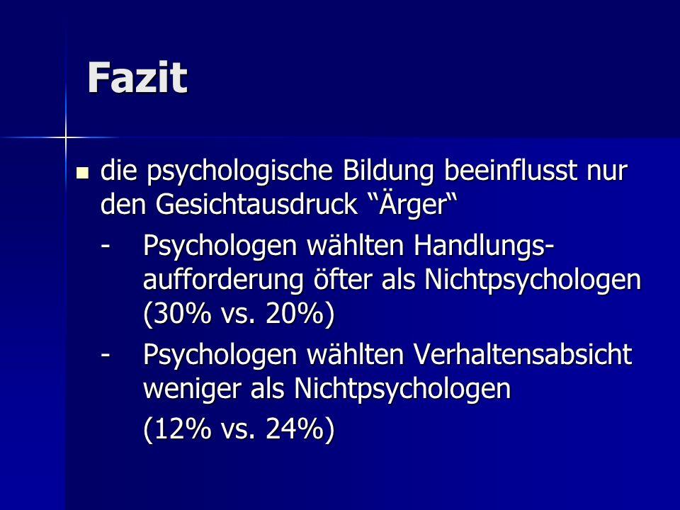 Fazit die psychologische Bildung beeinflusst nur den Gesichtausdruck Ärger die psychologische Bildung beeinflusst nur den Gesichtausdruck Ärger - Psyc