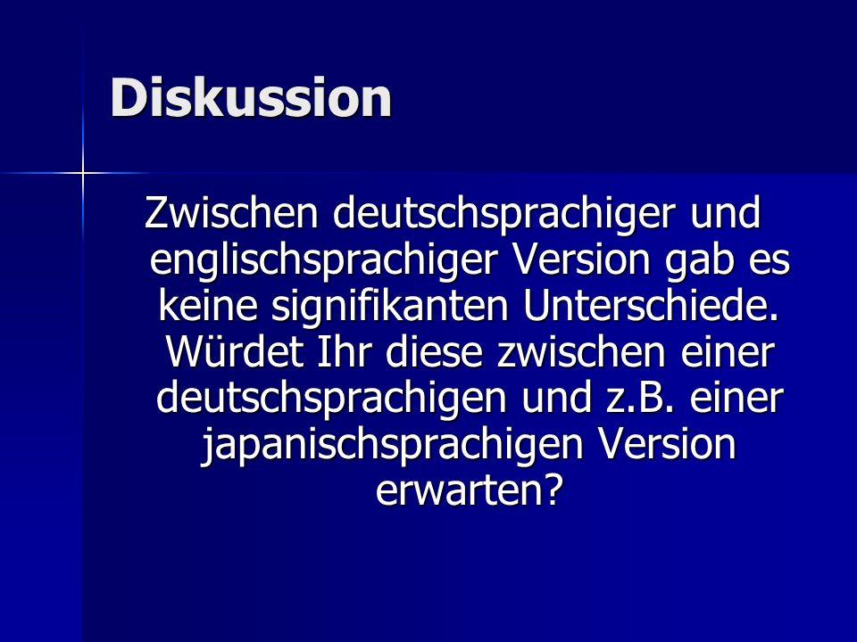 Diskussion Zwischen deutschsprachiger und englischsprachiger Version gab es keine signifikanten Unterschiede. Würdet Ihr diese zwischen einer deutschs