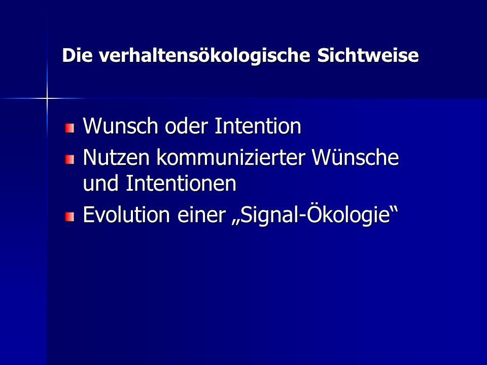 Die verhaltensökologische Sichtweise Wunsch oder Intention Nutzen kommunizierter Wünsche und Intentionen Evolution einer Signal-Ökologie