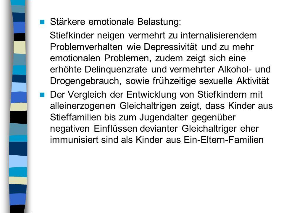 Unterschiede beim Risiko der Entwicklung von Stieftöchter im Vergleich zu Stiefsöhnen können angesichts widersprüchlicher Befunde nicht aufgezeigt werden Zudem ist fraglich, ob und wieweit amerikanische Befunde auf deutsche Verhältnisse generalisiert werden können