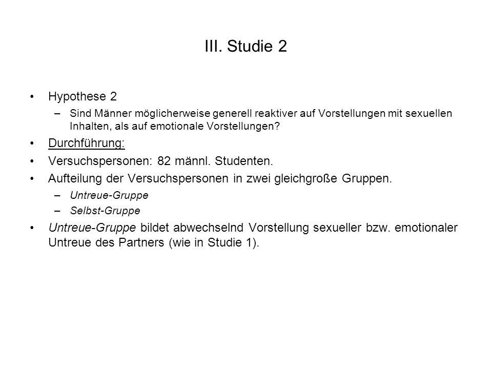 III. Studie 2 Hypothese 2 –Sind Männer möglicherweise generell reaktiver auf Vorstellungen mit sexuellen Inhalten, als auf emotionale Vorstellungen? D