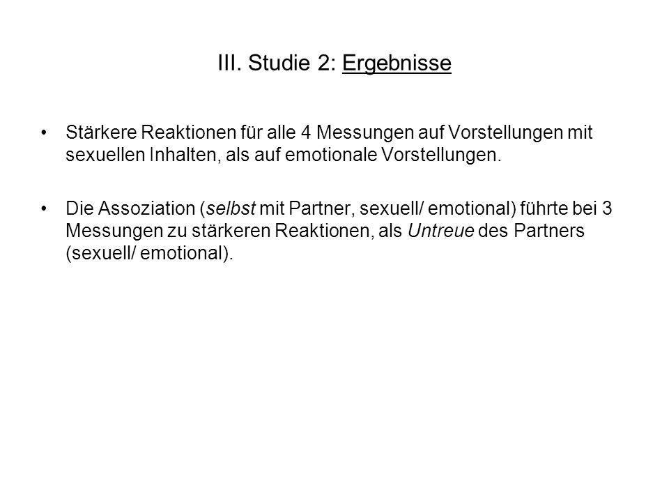 III. Studie 2: Ergebnisse Stärkere Reaktionen für alle 4 Messungen auf Vorstellungen mit sexuellen Inhalten, als auf emotionale Vorstellungen. Die Ass