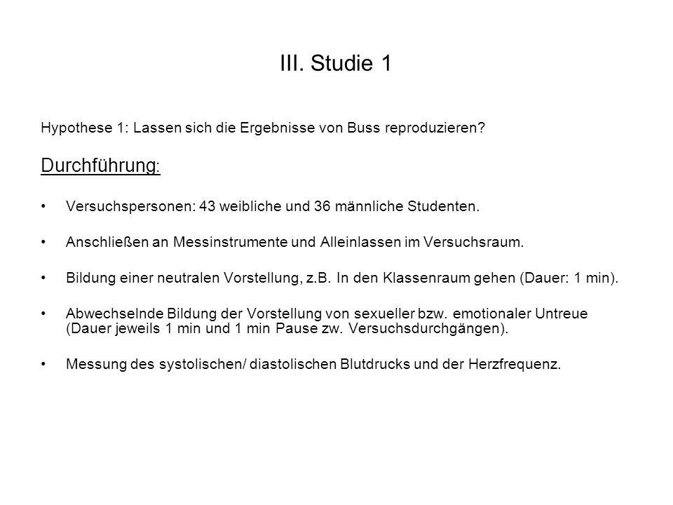 III. Studie 1 Hypothese 1: Lassen sich die Ergebnisse von Buss reproduzieren? Durchführung : Versuchspersonen: 43 weibliche und 36 männliche Studenten