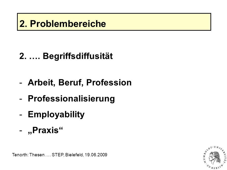 Tenorth: Thesen ….STEP, Bielefeld, 19.06.2009 2. Problembereiche 2.