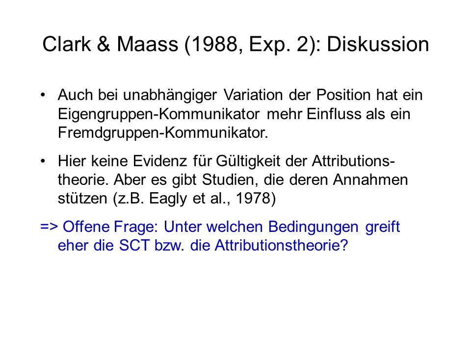 Clark & Maass (1988, Exp. 2): Diskussion Auch bei unabhängiger Variation der Position hat ein Eigengruppen-Kommunikator mehr Einfluss als ein Fremdgru