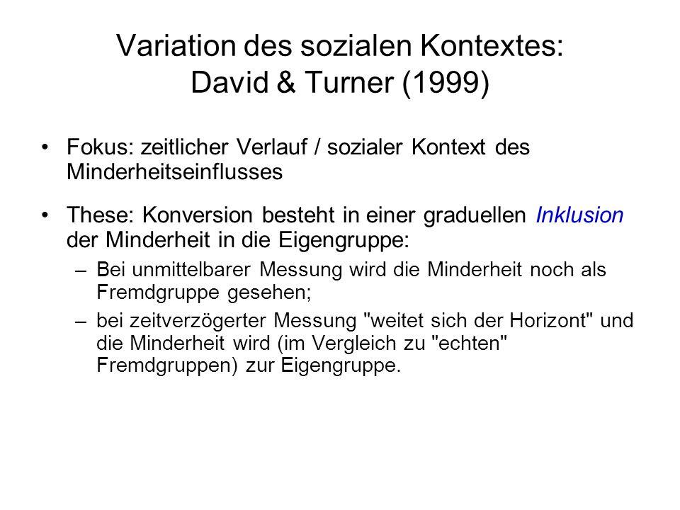Variation des sozialen Kontextes: David & Turner (1999) Fokus: zeitlicher Verlauf / sozialer Kontext des Minderheitseinflusses These: Konversion beste