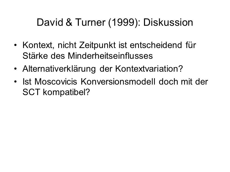 David & Turner (1999): Diskussion Kontext, nicht Zeitpunkt ist entscheidend für Stärke des Minderheitseinflusses Alternativerklärung der Kontextvariat