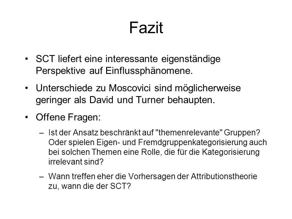 Fazit SCT liefert eine interessante eigenständige Perspektive auf Einflussphänomene. Unterschiede zu Moscovici sind möglicherweise geringer als David