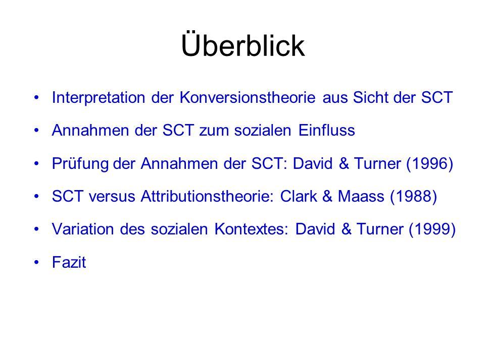 Überblick Interpretation der Konversionstheorie aus Sicht der SCT Annahmen der SCT zum sozialen Einfluss Prüfung der Annahmen der SCT: David & Turner (1996) SCT versus Attributionstheorie: Clark & Maass (1988) Variation des sozialen Kontextes: David & Turner (1999) Fazit