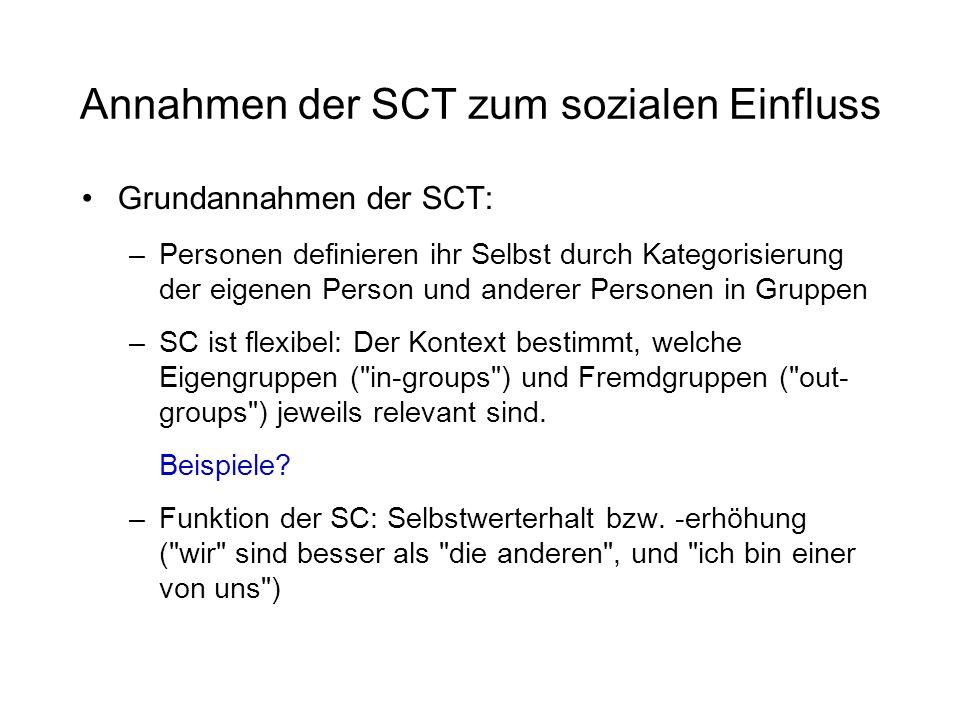 Annahmen der SCT zum sozialen Einfluss Grundannahmen der SCT: –Personen definieren ihr Selbst durch Kategorisierung der eigenen Person und anderer Per