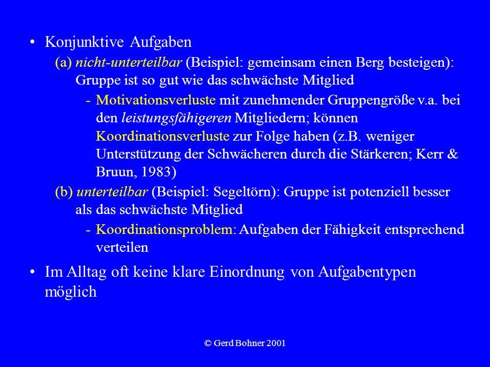 © Gerd Bohner 2001 Konjunktive Aufgaben (a)nicht-unterteilbar (Beispiel: gemeinsam einen Berg besteigen): Gruppe ist so gut wie das schwächste Mitglie