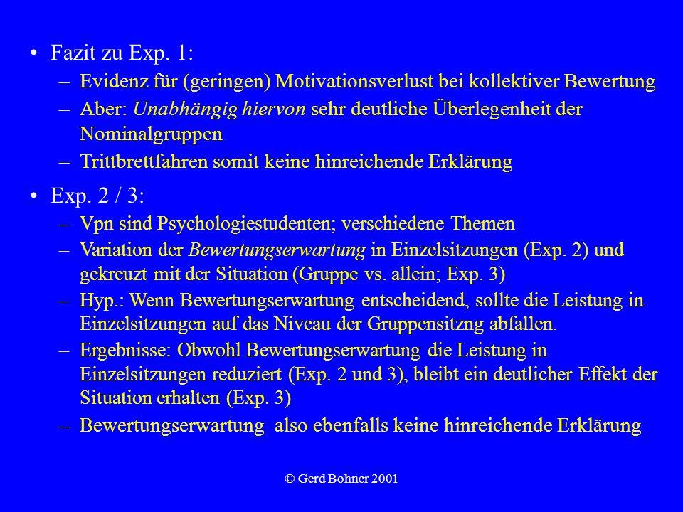 © Gerd Bohner 2001 Fazit zu Exp. 1: –Evidenz für (geringen) Motivationsverlust bei kollektiver Bewertung –Aber: Unabhängig hiervon sehr deutliche Über